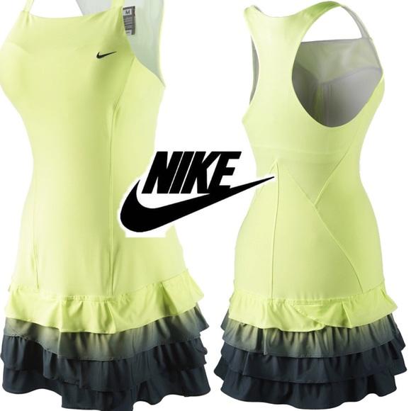 Nike Dresses & Skirts - Neon Green Tennis Dress Ombre Tiered Ruffle Hem